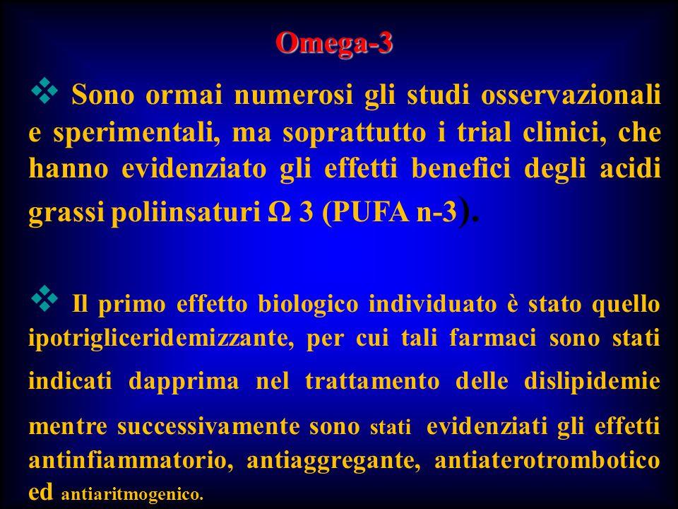 Sono ormai numerosi gli studi osservazionali e sperimentali, ma soprattutto i trial clinici, che hanno evidenziato gli effetti benefici degli acidi gr