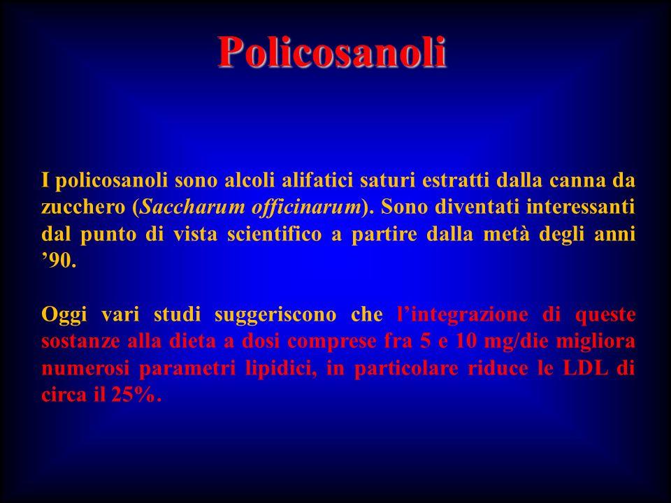 Policosanoli I policosanoli sono alcoli alifatici saturi estratti dalla canna da zucchero (Saccharum officinarum). Sono diventati interessanti dal pun