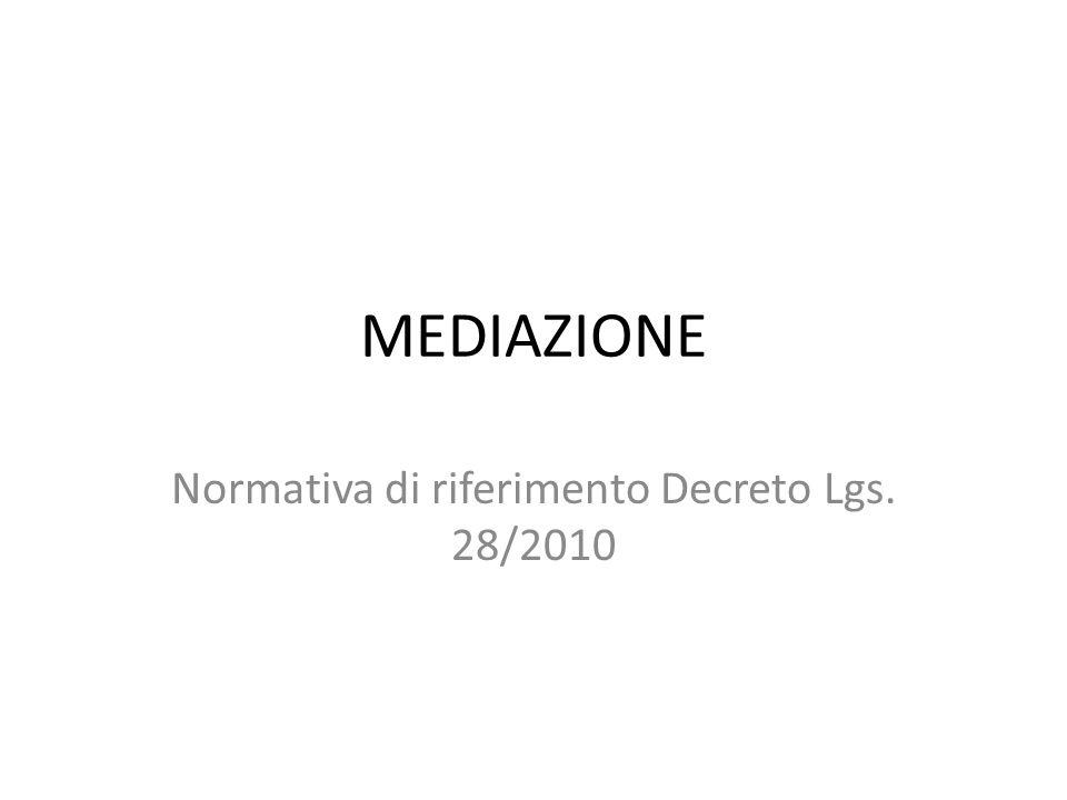 MEDIAZIONE Normativa di riferimento Decreto Lgs. 28/2010