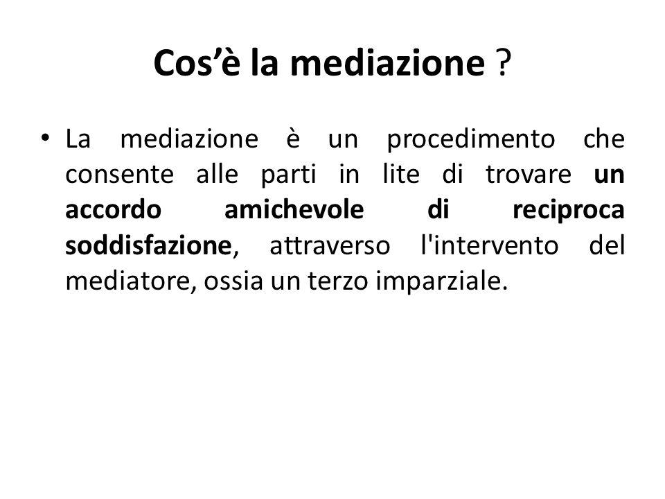 Procedimento di mediazione La mediazione si introduce con una semplice domanda allorganismo, contenente lindicazione dellorganismo investito, delle parti, delloggetto della pretesa e delle relative ragioni.