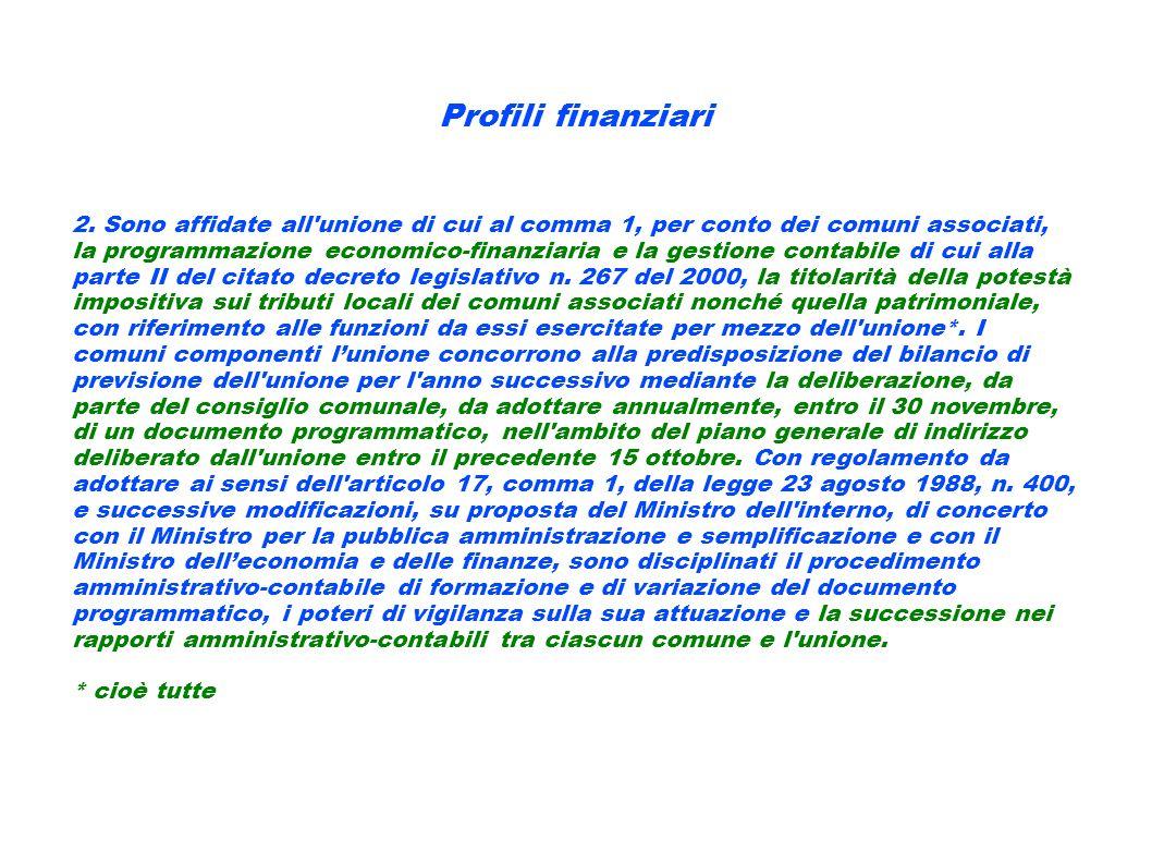 Profili finanziari 2. Sono affidate all'unione di cui al comma 1, per conto dei comuni associati, la programmazione economico-finanziaria e la gestion