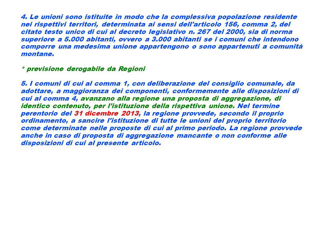 4. Le unioni sono istituite in modo che la complessiva popolazione residente nei rispettivi territori, determinata ai sensi dell'articolo 156, comma 2