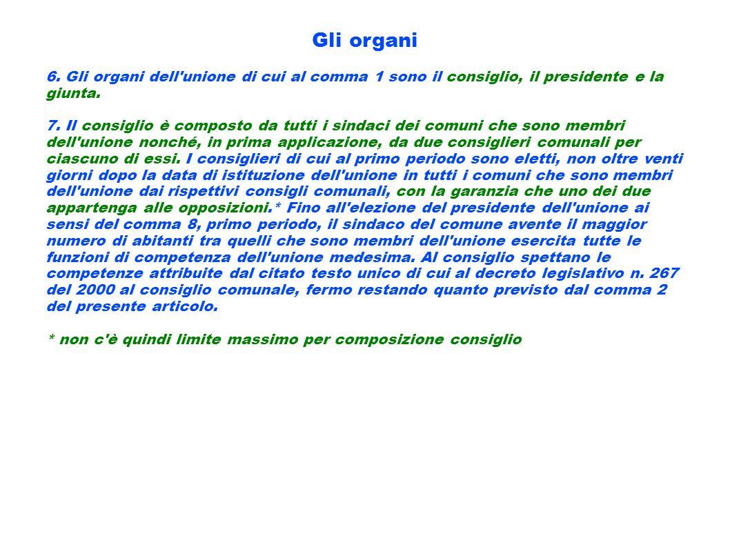 Gli organi 6. Gli organi dell'unione di cui al comma 1 sono il consiglio, il presidente e la giunta. 7. Il consiglio è composto da tutti i sindaci dei