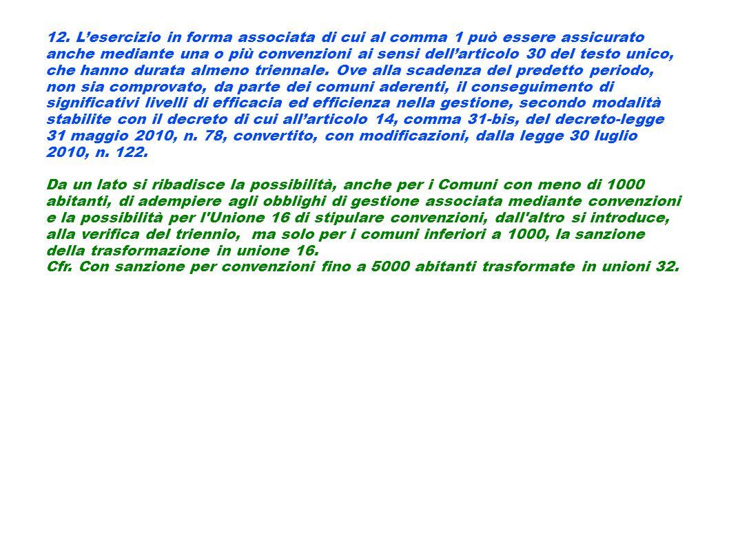 12. Lesercizio in forma associata di cui al comma 1 può essere assicurato anche mediante una o più convenzioni ai sensi dellarticolo 30 del testo unic