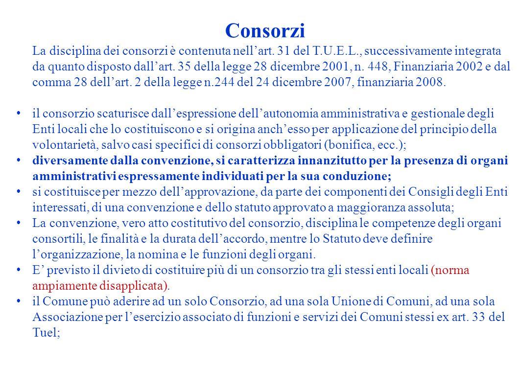 Consorzi La disciplina dei consorzi è contenuta nellart. 31 del T.U.E.L., successivamente integrata da quanto disposto dallart. 35 della legge 28 dice