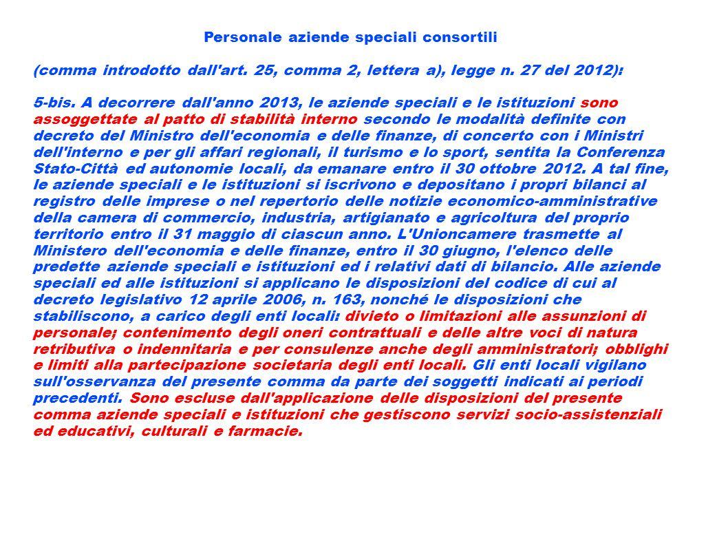Personale aziende speciali consortili (comma introdotto dall'art. 25, comma 2, lettera a), legge n. 27 del 2012): 5-bis. A decorrere dall'anno 2013, l