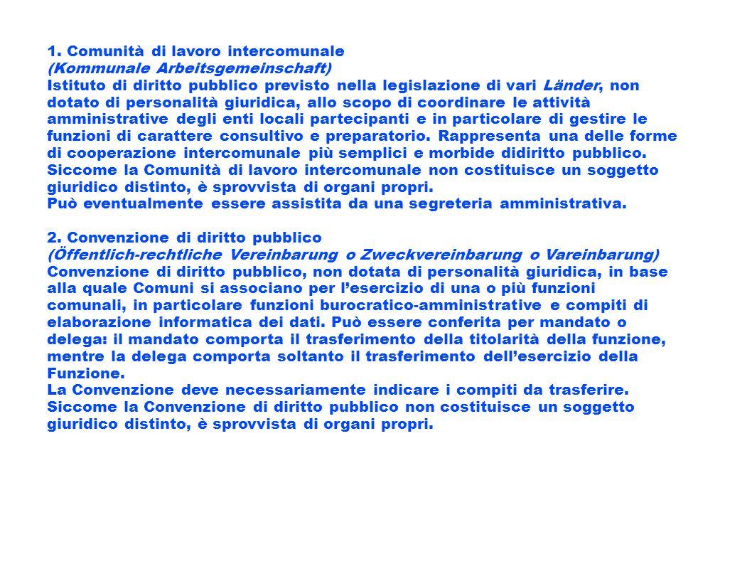 1. Comunità di lavoro intercomunale (Kommunale Arbeitsgemeinschaft) Istituto di diritto pubblico previsto nella legislazione di vari Länder, non dotat