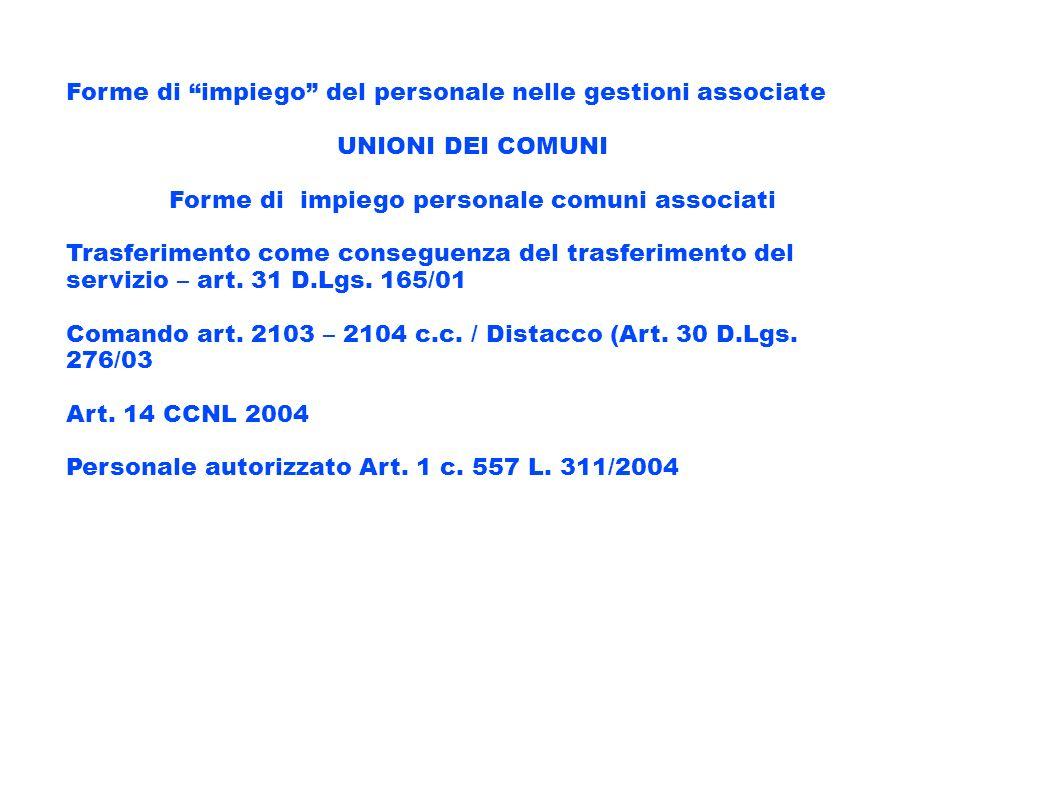 Forme di impiego del personale nelle gestioni associate UNIONI DEI COMUNI Forme di impiego personale comuni associati Trasferimento come conseguenza d