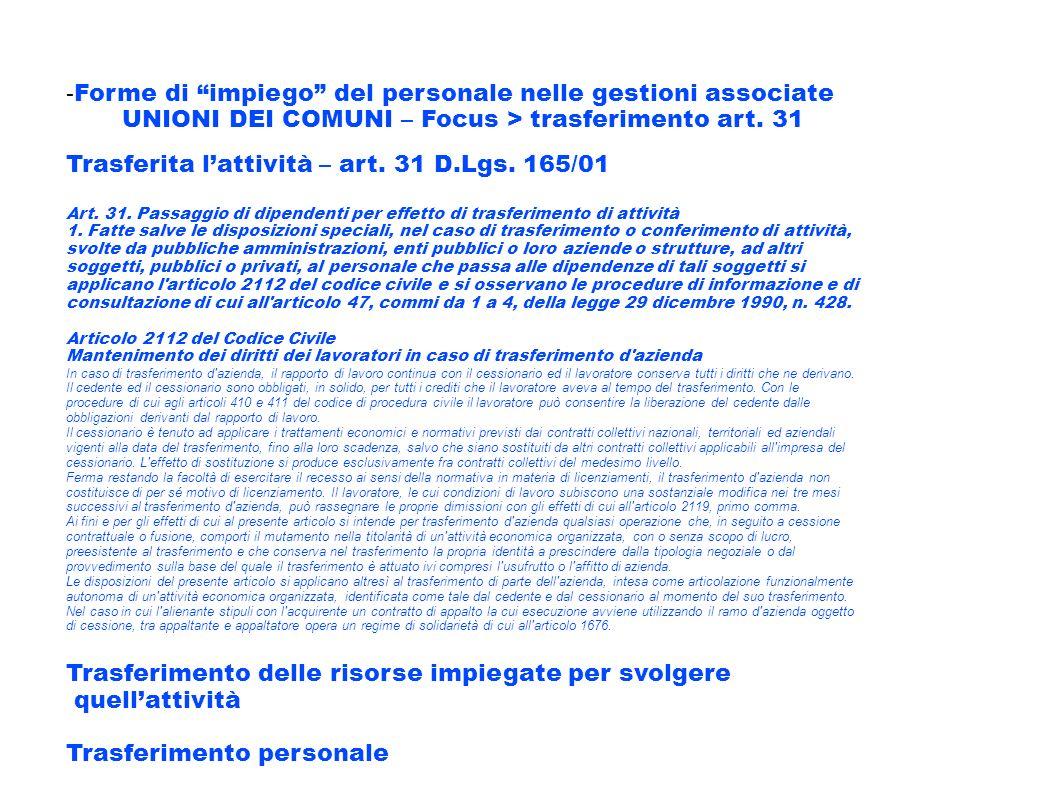 - Forme di impiego del personale nelle gestioni associate UNIONI DEI COMUNI – Focus > trasferimento art. 31 Trasferita lattività – art. 31 D.Lgs. 165/