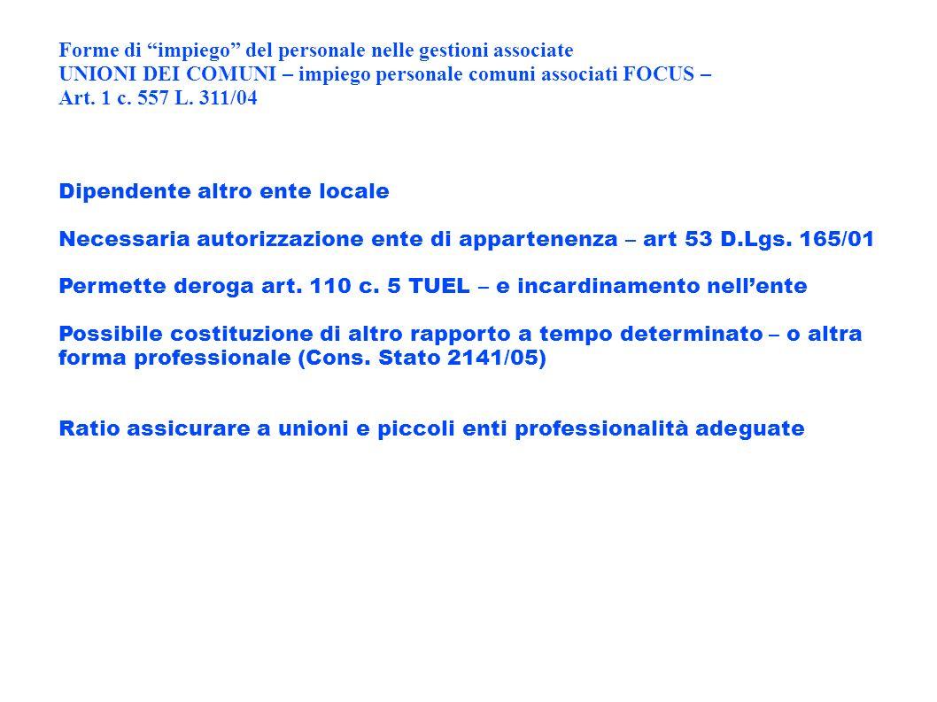 Forme di impiego del personale nelle gestioni associate UNIONI DEI COMUNI – impiego personale comuni associati FOCUS – Art. 1 c. 557 L. 311/04 Dipende