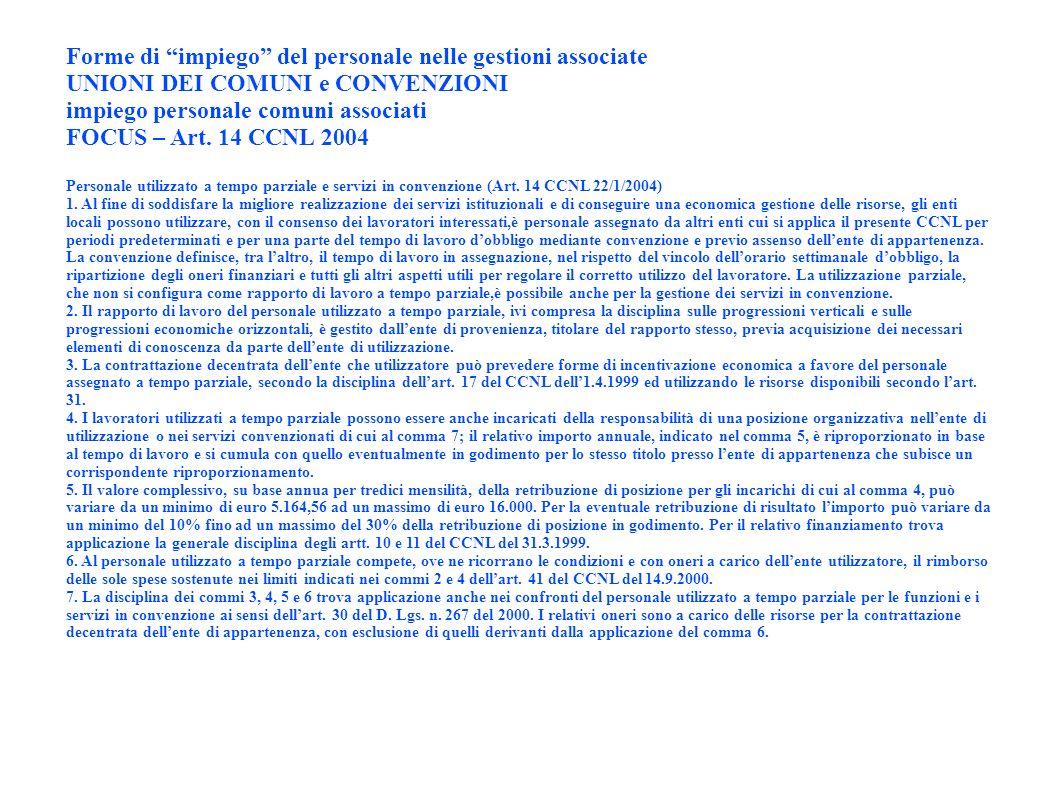 Forme di impiego del personale nelle gestioni associate UNIONI DEI COMUNI e CONVENZIONI impiego personale comuni associati FOCUS – Art. 14 CCNL 2004 P