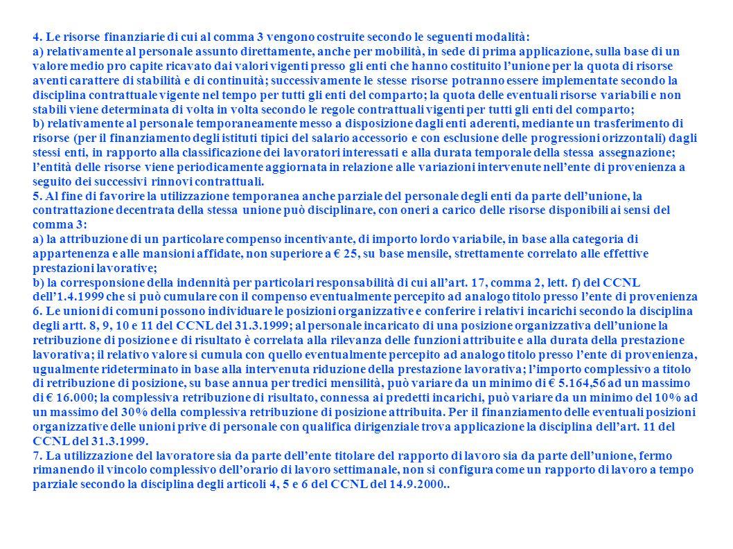 4. Le risorse finanziarie di cui al comma 3 vengono costruite secondo le seguenti modalità: a) relativamente al personale assunto direttamente, anche