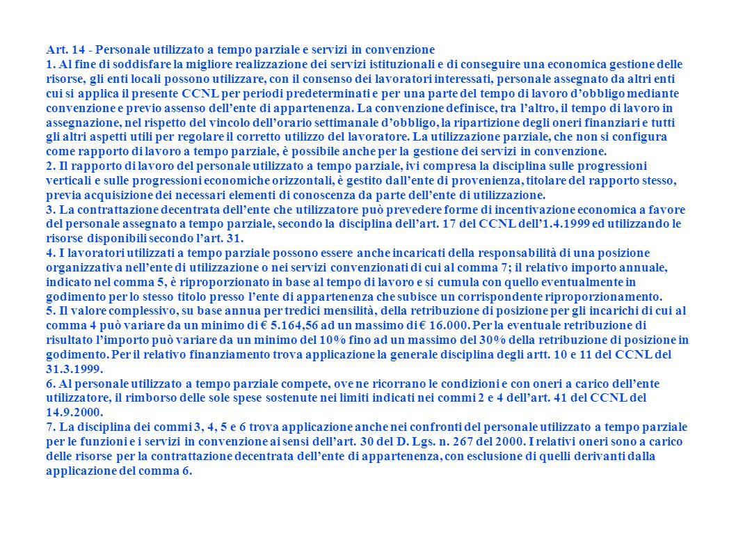 Art. 14 - Personale utilizzato a tempo parziale e servizi in convenzione 1. Al fine di soddisfare la migliore realizzazione dei servizi istituzionali