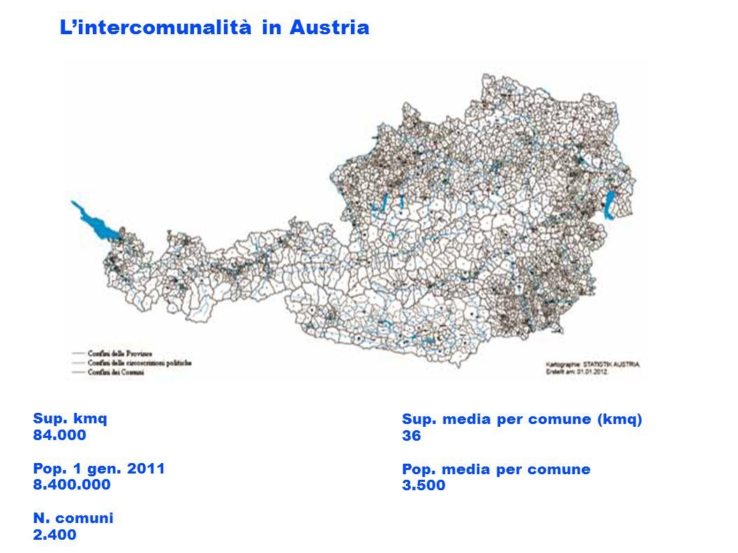 Sup. kmq 84.000 Pop. 1 gen. 2011 8.400.000 N. comuni 2.400 Sup. media per comune (kmq) 36 Pop. media per comune 3.500 Lintercomunalità in Austria
