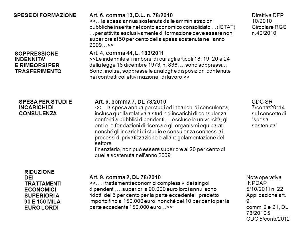 SPESE DI FORMAZIONEArt. 6, comma 13, D.L. n. 78/2010 > Direttiva DFP 10/2010 Circolare RGS n.40/2010 SOPPRESSIONE INDENNITA E RIMBORSI PER TRASFERIMEN