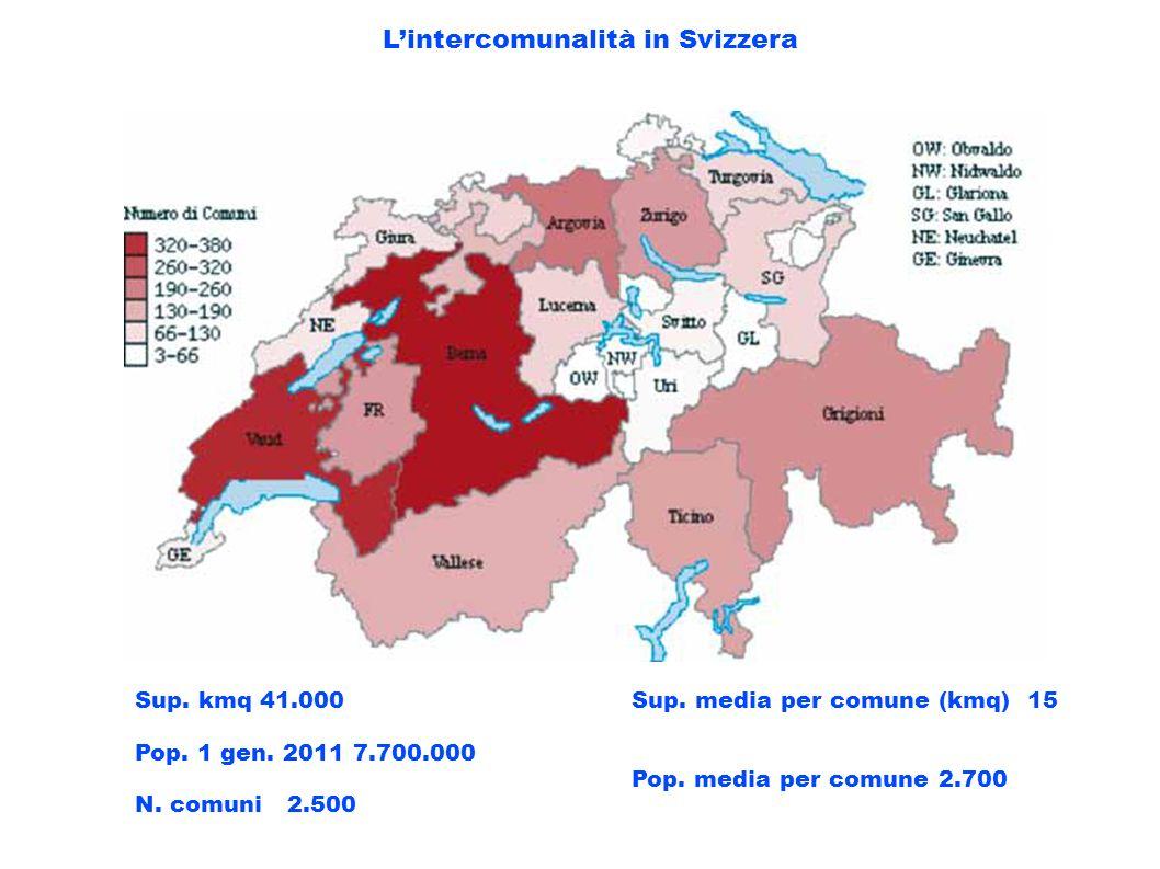 Lintercomunalità in Svizzera Sup. kmq 41.000 Pop. 1 gen. 2011 7.700.000 N. comuni 2.500 Sup. media per comune (kmq) 15 Pop. media per comune 2.700