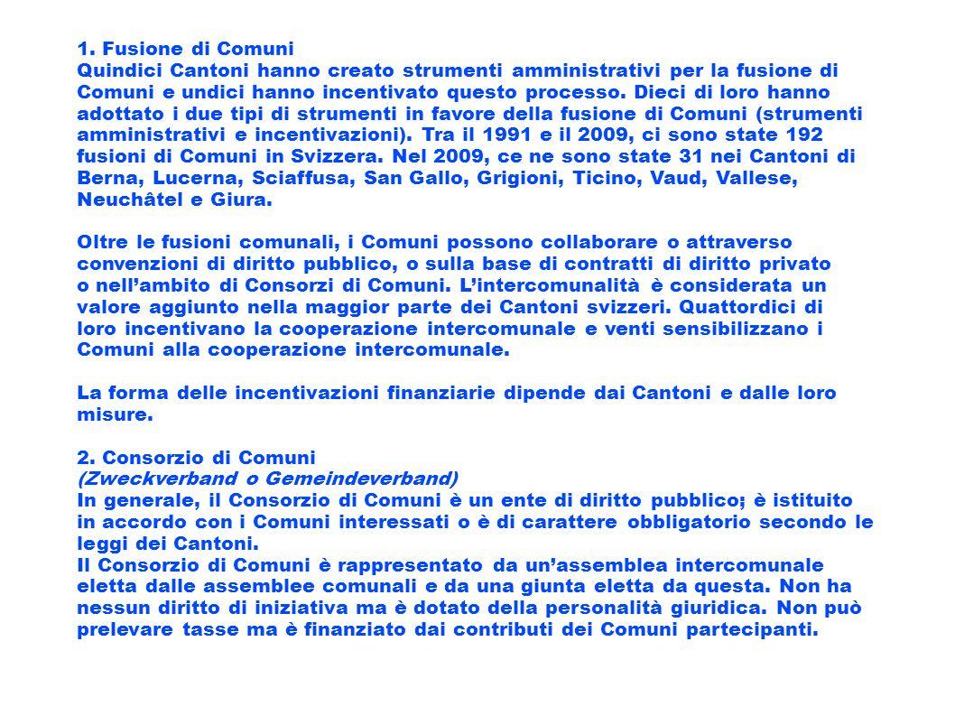 1. Fusione di Comuni Quindici Cantoni hanno creato strumenti amministrativi per la fusione di Comuni e undici hanno incentivato questo processo. Dieci