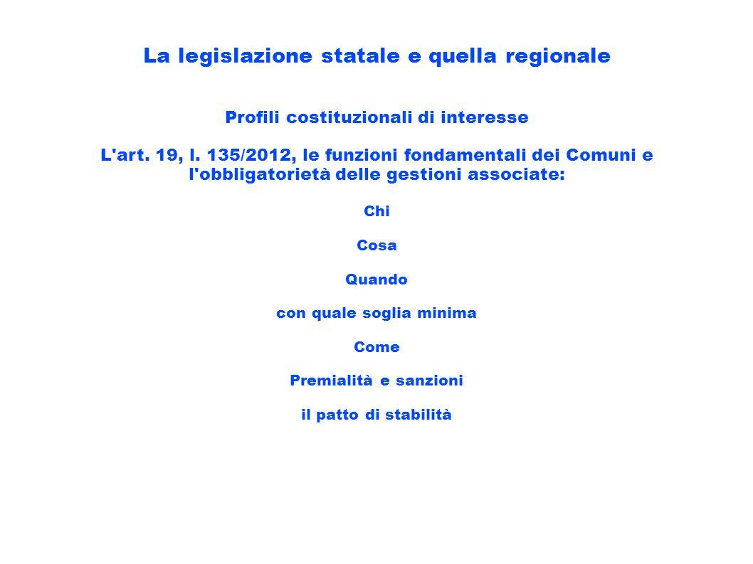 La legislazione statale e quella regionale Profili costituzionali di interesse L'art. 19, l. 135/2012, le funzioni fondamentali dei Comuni e l'obbliga