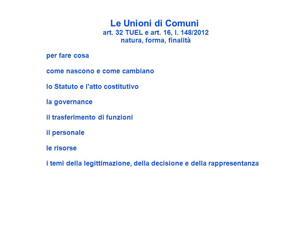 Le Unioni di Comuni art. 32 TUEL e art. 16, l. 148/2012 natura, forma, finalità per fare cosa come nascono e come cambiano lo Statuto e l'atto costitu