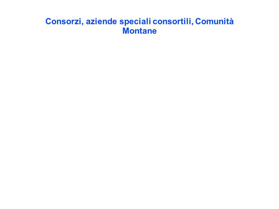 Consorzi, aziende speciali consortili, Comunità Montane