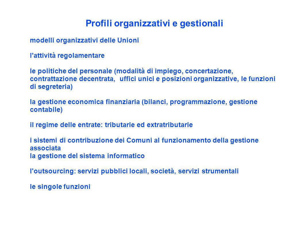 Profili organizzativi e gestionali modelli organizzativi delle Unioni l'attività regolamentare le politiche del personale (modalità di impiego, concer