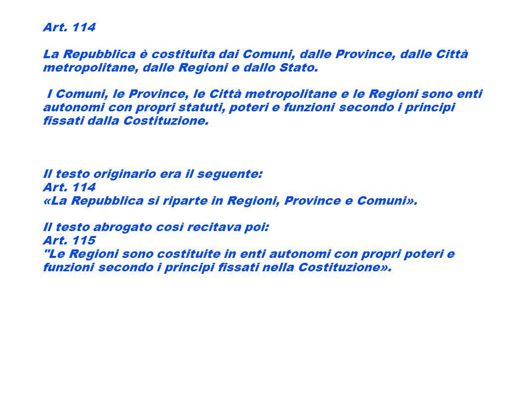 Art. 114 La Repubblica è costituita dai Comuni, dalle Province, dalle Città metropolitane, dalle Regioni e dallo Stato. I Comuni, le Province, le Citt