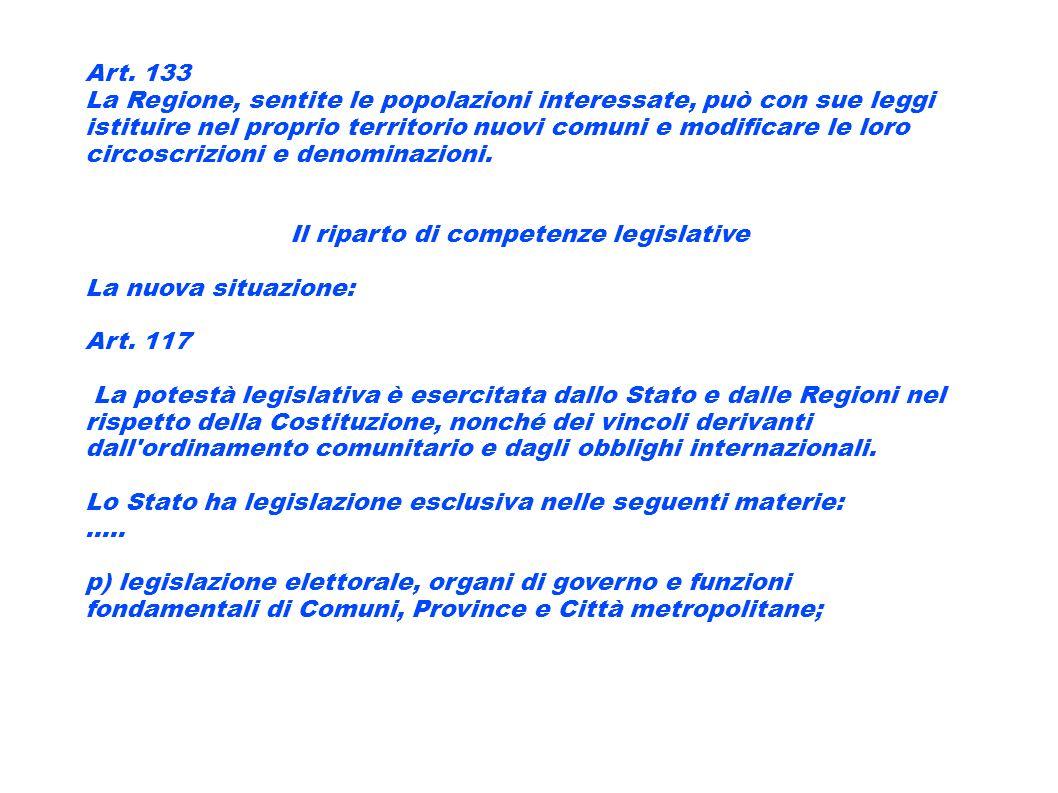 Art. 133 La Regione, sentite le popolazioni interessate, può con sue leggi istituire nel proprio territorio nuovi comuni e modificare le loro circoscr