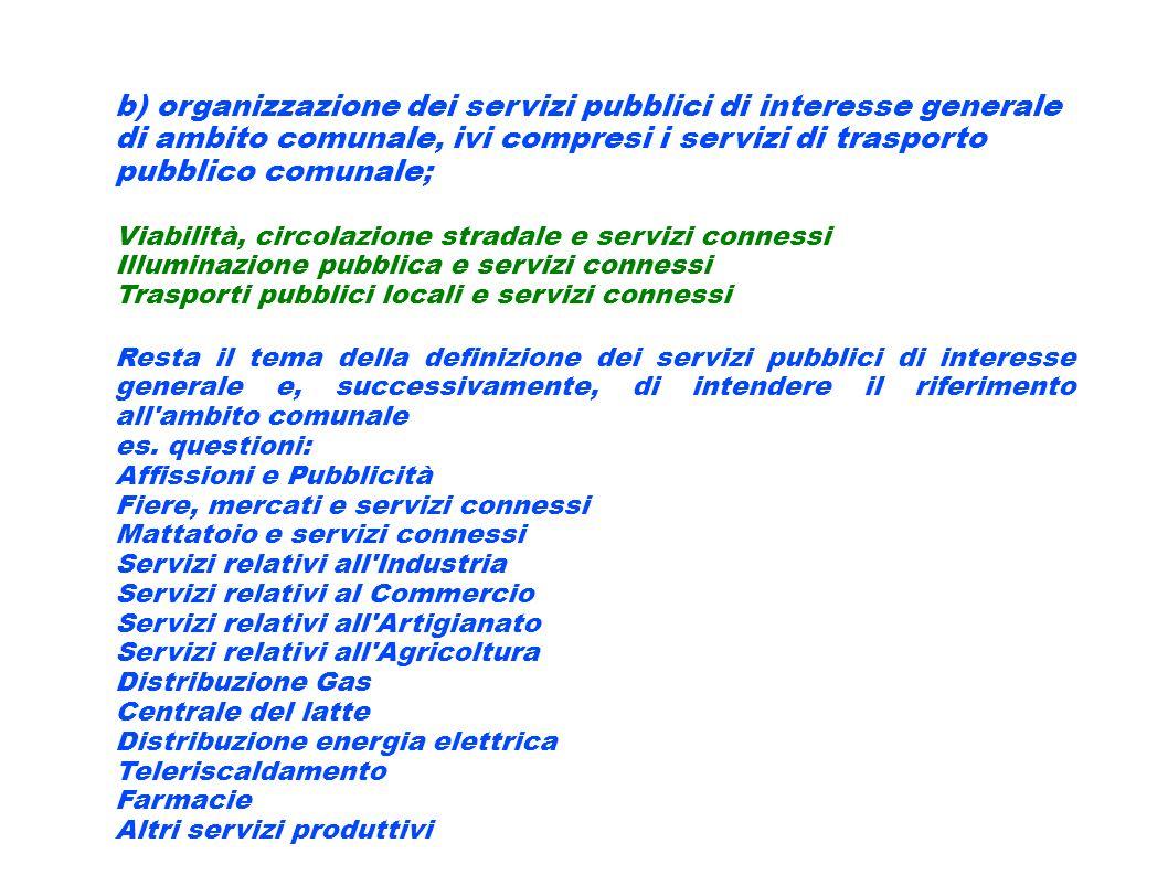 b) organizzazione dei servizi pubblici di interesse generale di ambito comunale, ivi compresi i servizi di trasporto pubblico comunale; Viabilità, cir