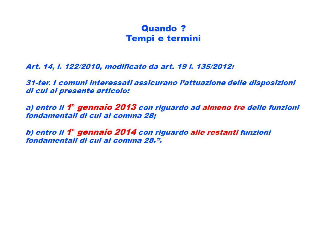Quando ? Tempi e termini Art. 14, l. 122/2010, modificato da art. 19 l. 135/2012: 31-ter. I comuni interessati assicurano lattuazione delle disposizio