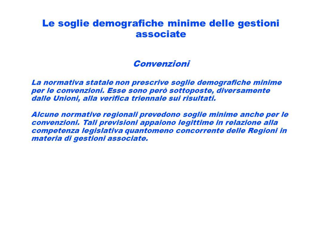 Le soglie demografiche minime delle gestioni associate Convenzioni La normativa statale non prescrive soglie demografiche minime per le convenzioni. E
