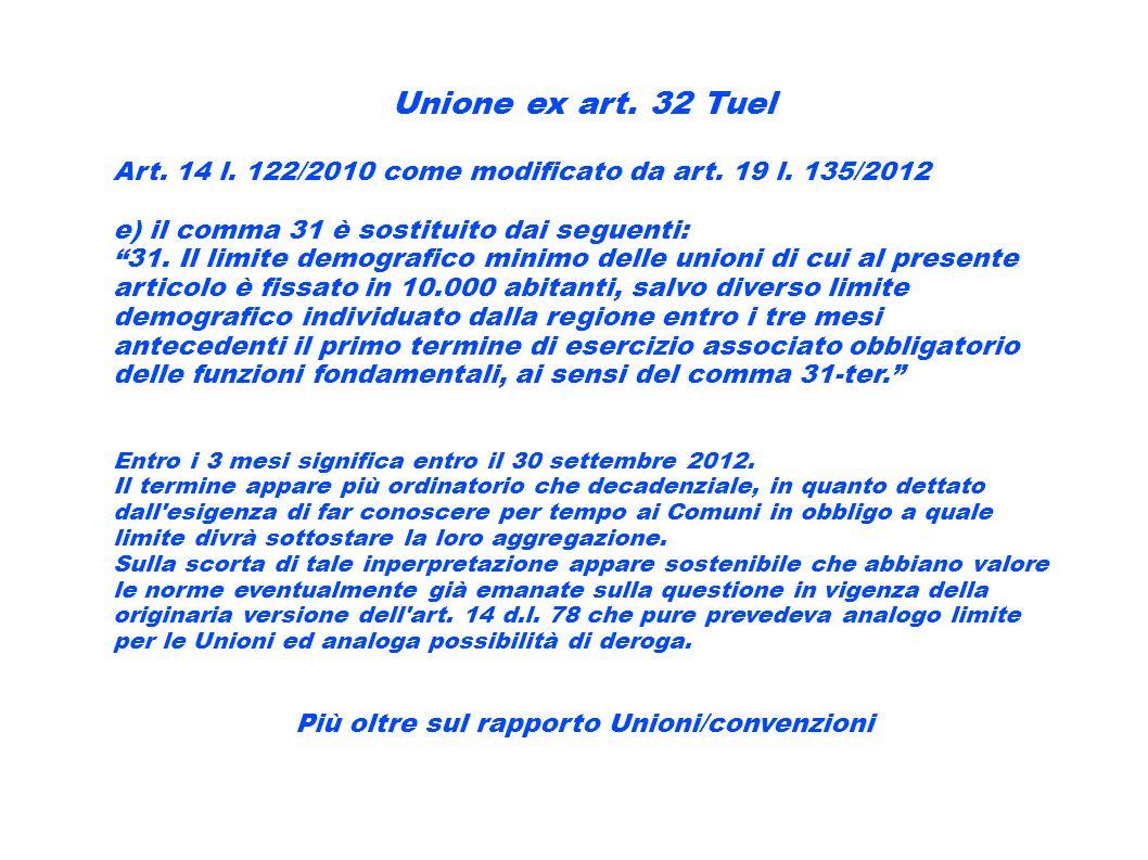 Unione ex art. 32 Tuel Art. 14 l. 122/2010 come modificato da art. 19 l. 135/2012 e) il comma 31 è sostituito dai seguenti: 31. Il limite demografico