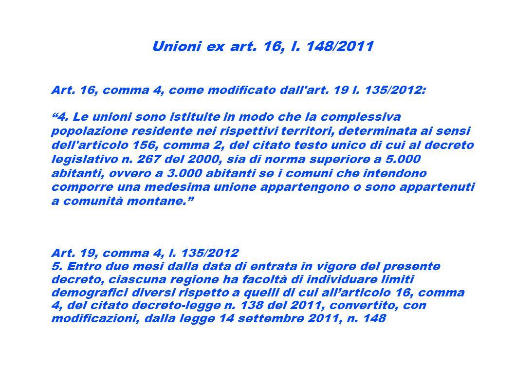 Unioni ex art. 16, l. 148/2011 Art. 16, comma 4, come modificato dall'art. 19 l. 135/2012: 4. Le unioni sono istituite in modo che la complessiva popo