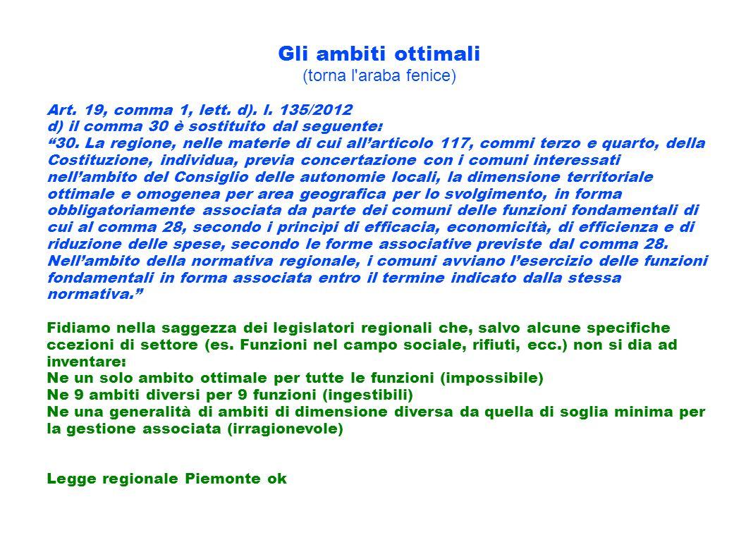 Gli ambiti ottimali (torna l'araba fenice) Art. 19, comma 1, lett. d). l. 135/2012 d) il comma 30 è sostituito dal seguente: 30. La regione, nelle mat