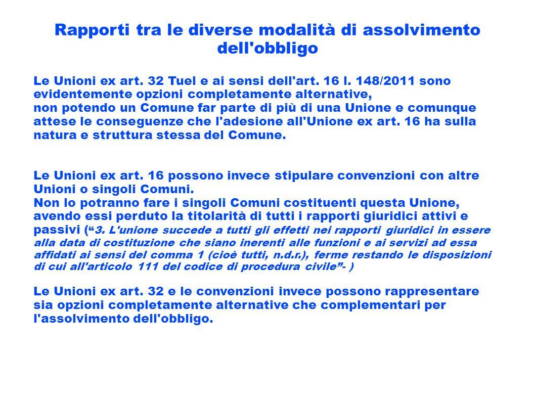 Rapporti tra le diverse modalità di assolvimento dell'obbligo Le Unioni ex art. 32 Tuel e ai sensi dell'art. 16 l. 148/2011 sono evidentemente opzioni