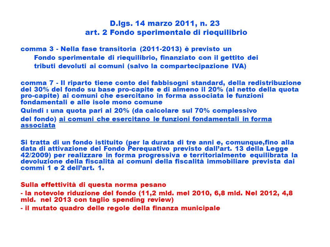 D.lgs. 14 marzo 2011, n. 23 art. 2 Fondo sperimentale di riequilibrio comma 3 - Nella fase transitoria (2011-2013) è previsto un Fondo sperimentale di