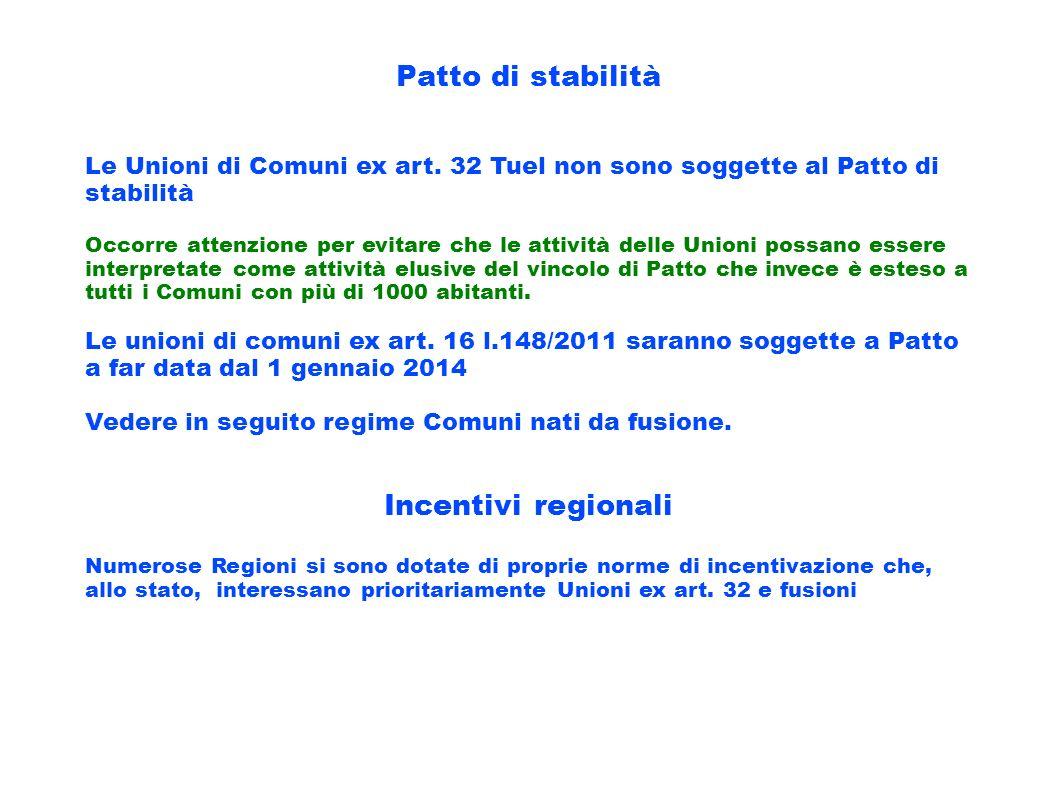 Patto di stabilità Le Unioni di Comuni ex art. 32 Tuel non sono soggette al Patto di stabilità Occorre attenzione per evitare che le attività delle Un