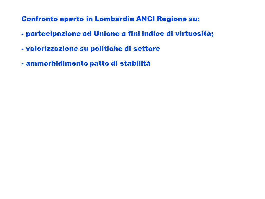 Confronto aperto in Lombardia ANCI Regione su: - partecipazione ad Unione a fini indice di virtuosità; - valorizzazione su politiche di settore - ammo