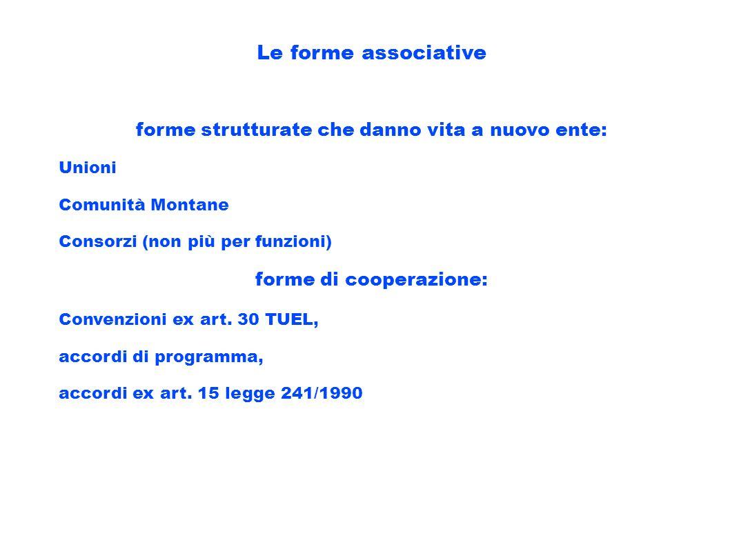 Le forme associative forme strutturate che danno vita a nuovo ente: Unioni Comunità Montane Consorzi (non più per funzioni) forme di cooperazione: Con