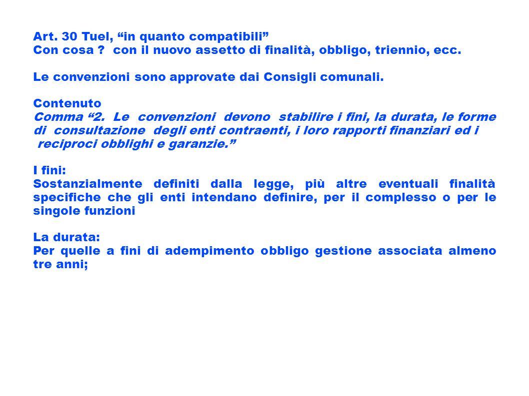 Art. 30 Tuel, in quanto compatibili Con cosa ? con il nuovo assetto di finalità, obbligo, triennio, ecc. Le convenzioni sono approvate dai Consigli co