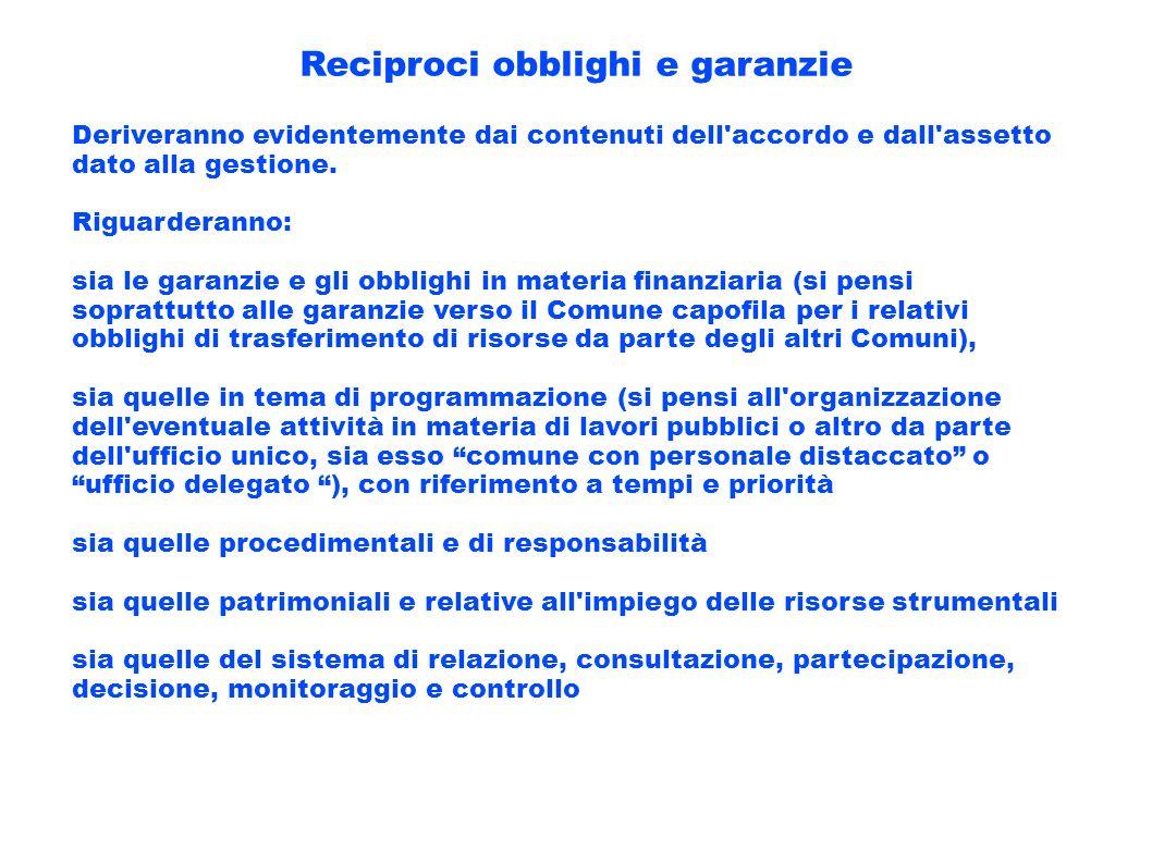 Reciproci obblighi e garanzie Deriveranno evidentemente dai contenuti dell'accordo e dall'assetto dato alla gestione. Riguarderanno: sia le garanzie e