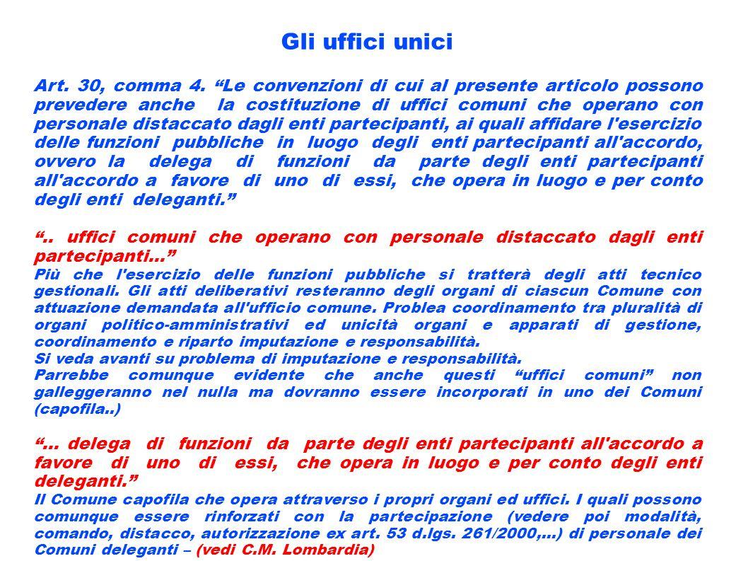 Gli uffici unici Art. 30, comma 4. Le convenzioni di cui al presente articolo possono prevedere anche la costituzione di uffici comuni che operano con