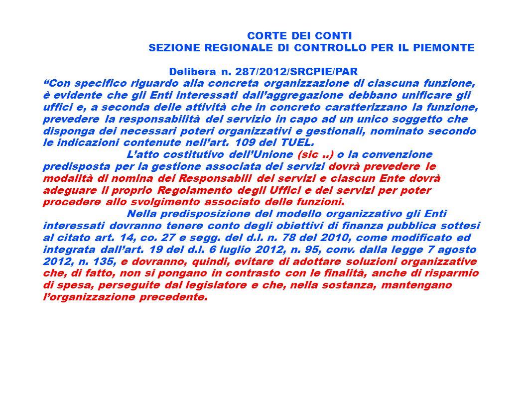 CORTE DEI CONTI SEZIONE REGIONALE DI CONTROLLO PER IL PIEMONTE Delibera n. 287/2012/SRCPIE/PAR Con specifico riguardo alla concreta organizzazione di