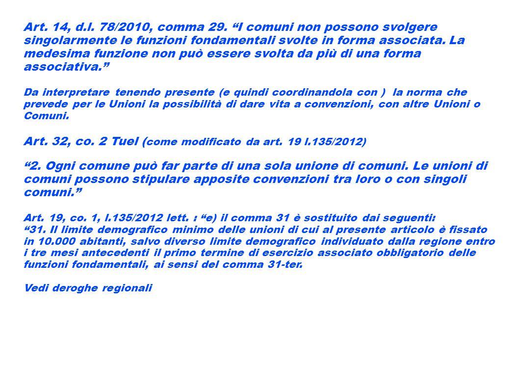 Art. 14, d.l. 78/2010, comma 29. I comuni non possono svolgere singolarmente le funzioni fondamentali svolte in forma associata. La medesima funzione