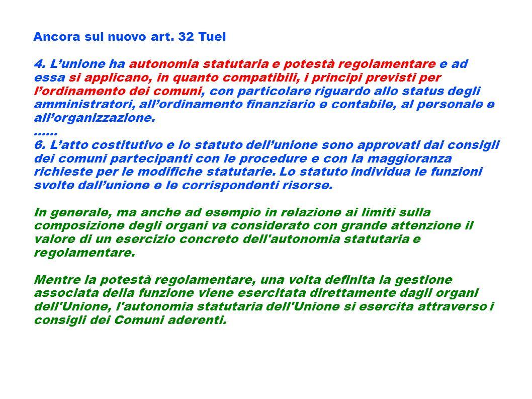 Ancora sul nuovo art. 32 Tuel 4. Lunione ha autonomia statutaria e potestà regolamentare e ad essa si applicano, in quanto compatibili, i principi pre