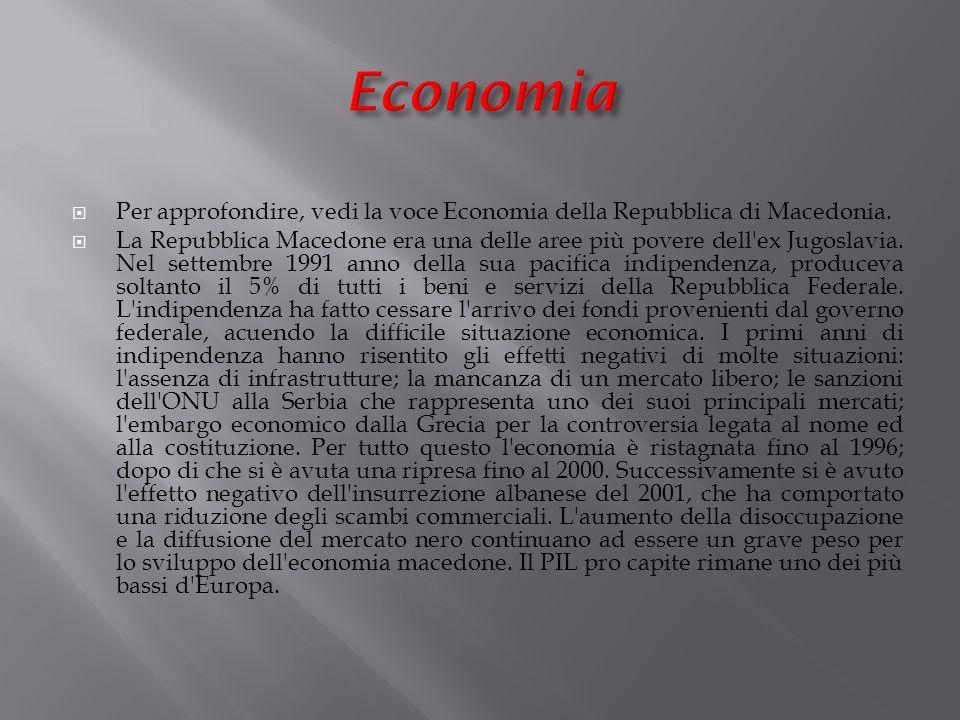 Per approfondire, vedi la voce Economia della Repubblica di Macedonia.