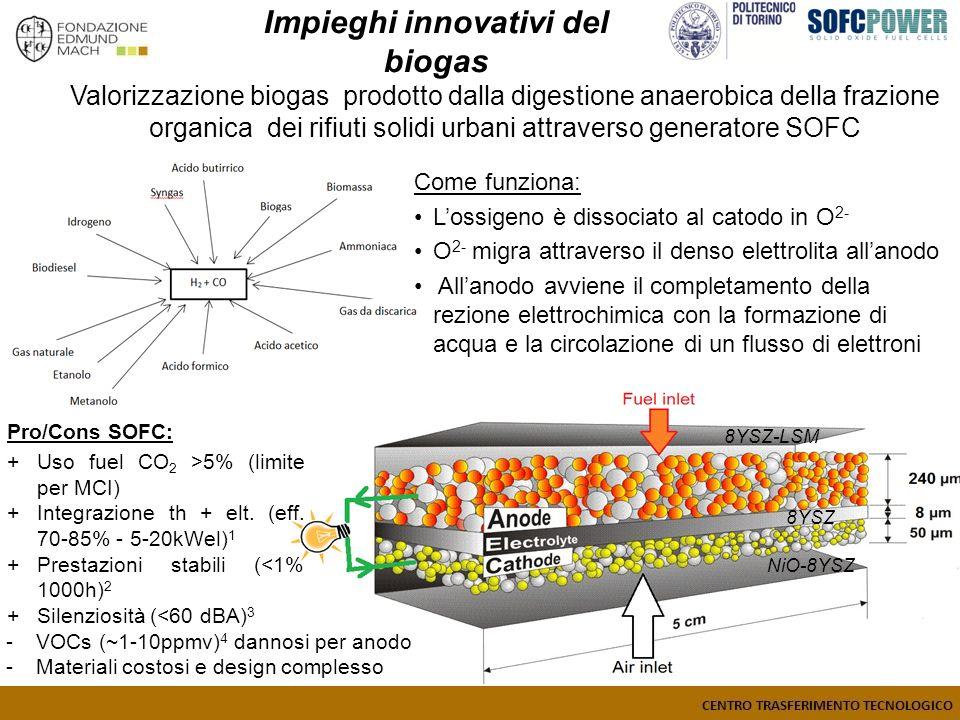 Valorizzazione biogas prodotto dalla digestione anaerobica della frazione organica dei rifiuti solidi urbani attraverso generatore SOFC Come funziona: Lossigeno è dissociato al catodo in O 2- O 2- migra attraverso il denso elettrolita allanodo Allanodo avviene il completamento della rezione elettrochimica con la formazione di acqua e la circolazione di un flusso di elettroni Pro/Cons SOFC: +Uso fuel CO 2 >5% (limite per MCI) +Integrazione th + elt.