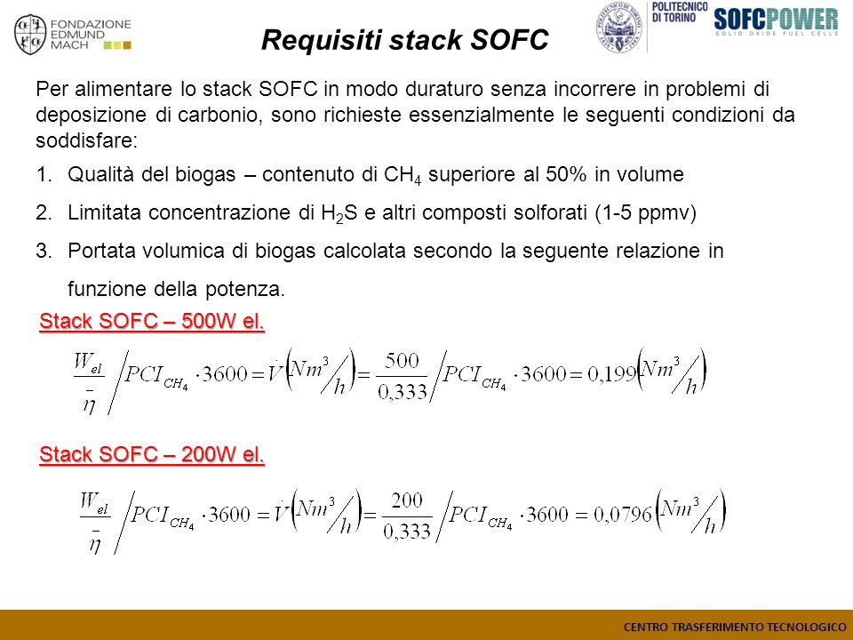 Stack SOFC – 500W el. Per alimentare lo stack SOFC in modo duraturo senza incorrere in problemi di deposizione di carbonio, sono richieste essenzialme