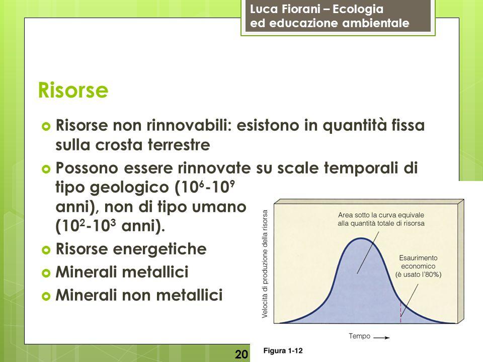 Luca Fiorani – Ecologia ed educazione ambientale Risorse Risorse non rinnovabili: esistono in quantità fissa sulla crosta terrestre Possono essere rinnovate su scale temporali di tipo geologico (10 6 -10 9 anni), non di tipo umano (10 2 -10 3 anni).