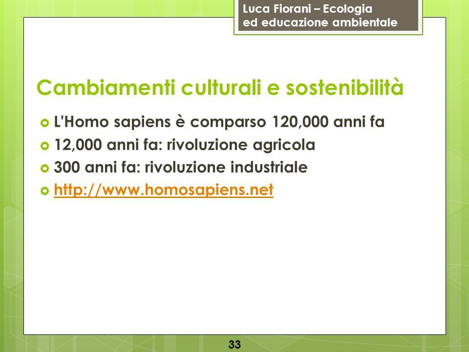 Luca Fiorani – Ecologia ed educazione ambientale Cambiamenti culturali e sostenibilità L Homo sapiens è comparso 120,000 anni fa 12,000 anni fa: rivoluzione agricola 300 anni fa: rivoluzione industriale http://www.homosapiens.net 33