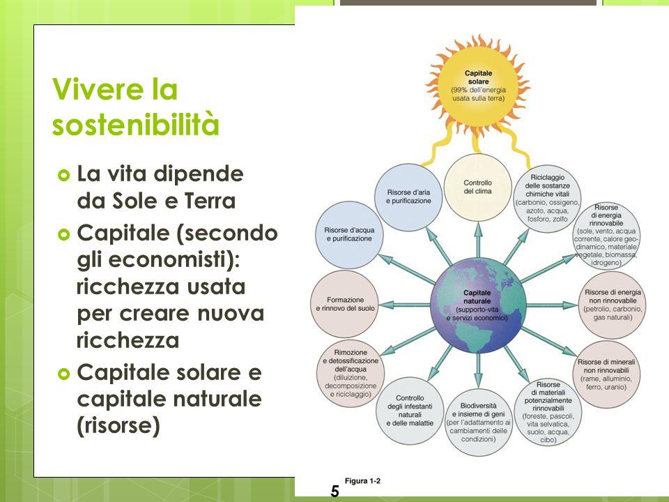 Luca Fiorani – Ecologia ed educazione ambientale Vivere la sostenibilità La vita dipende da Sole e Terra Capitale (secondo gli economisti): ricchezza usata per creare nuova ricchezza Capitale solare e capitale naturale (risorse) 5